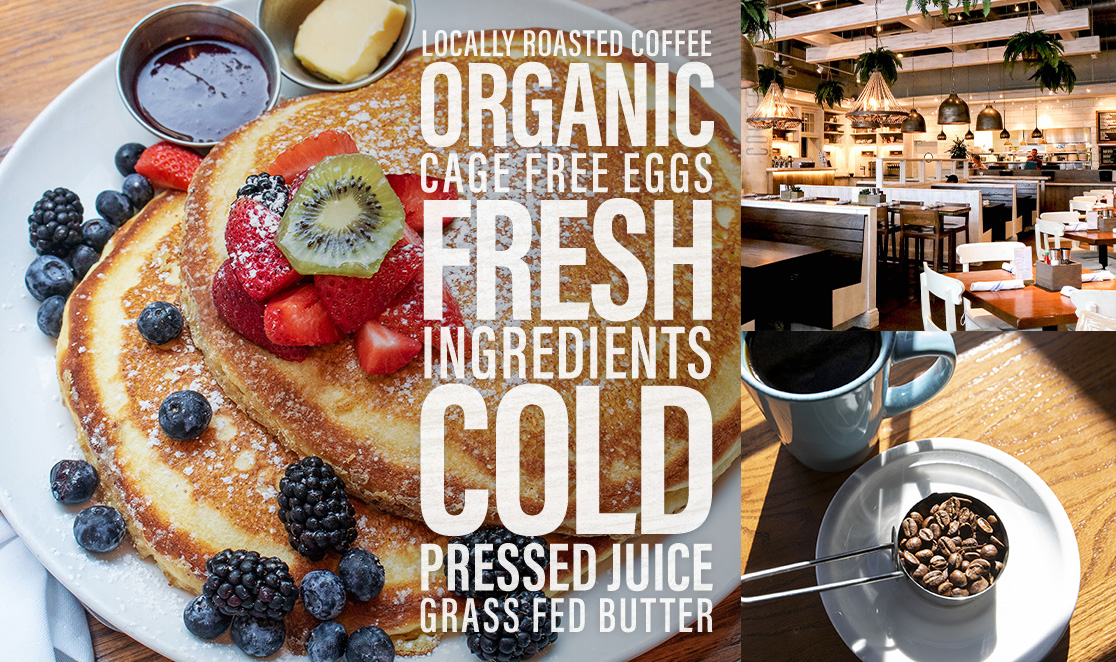 Locally roasted coffee. Organic, fresh ingredients. Cold pressed juice. Grass fed butter.